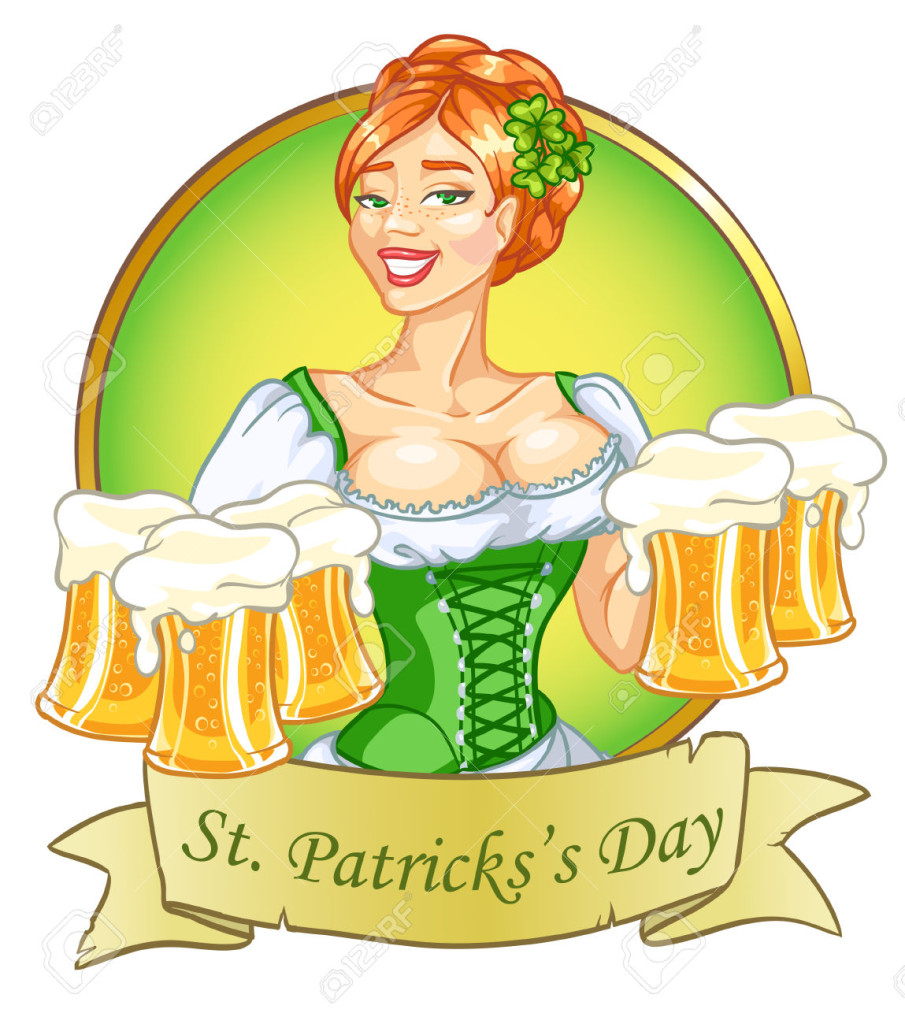 Beautiful leprechaun girl with beer, St. Patricks Day label design with space for text, isolated
