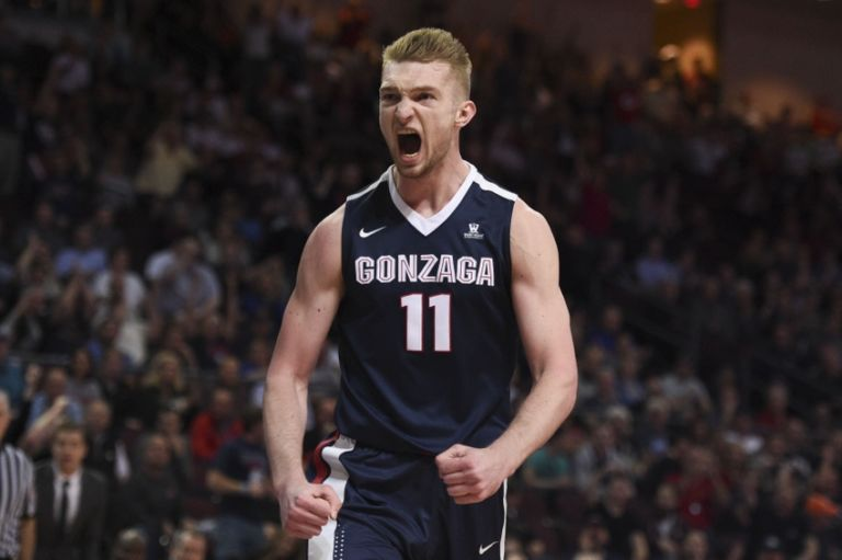 March 8, 2016; Las Vegas, NV, USA; Gonzaga Bulldogs forward Domantas Sabonis (11) celebrates against the Saint Mary's Gaels during the first half in the finals of the women's West Coast Conference tournament at Orleans Arena. Mandatory Credit: Kyle Terada-USA TODAY Sports