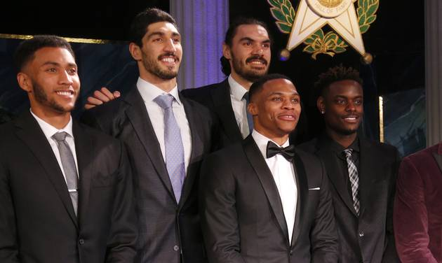 Russell Westbrook takes photos with Oklahoma City Thunder teammates before the induction ceremony for the Oklahoma Hall of Fame at the Cox Convention Center in Oklahoma City in Oklahoma City, Thursday, Nov. 17, 2016. Photo by Sarah Phipps, The Oklahoman