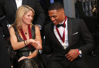 Kelli O'Hara greets Russell Westbrook photo before the induction ceremony for the Oklahoma Hall of Fame at the Cox Convention Center in Oklahoma City in Oklahoma City, Thursday, Nov. 17, 2016. Photo by Sarah Phipps, The Oklahoman